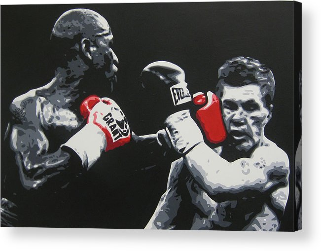 Floyd Mayweather Acrylic Print featuring the painting Mayweather Vs Hatton by Geo Thomson