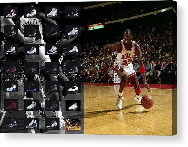Michael Jordan Acrylic Print featuring the photograph Michael Jordan Shoes by Joe Hamilton