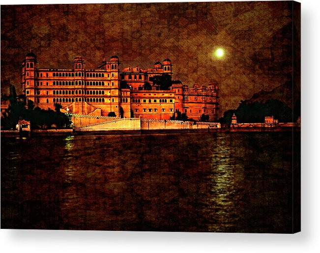 India Acrylic Print featuring the photograph Moon Over Udaipur Painted Version by Steve Harrington