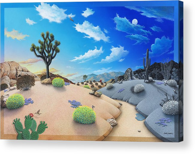 Joshua Tree Acrylic Print featuring the painting Joshua Tree Morning To Night by Snake Jagger