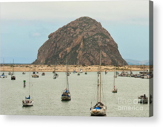 Morro Bay Ca Acrylic Print featuring the photograph Morro Bay Rock At Dawn by Artist and Photographer Laura Wrede