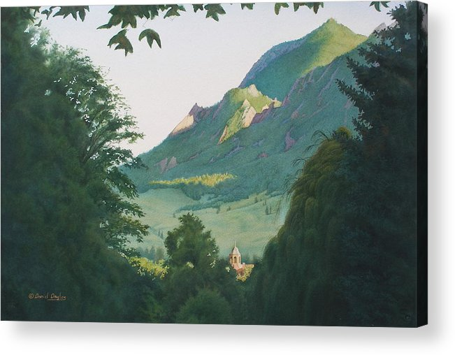 Watercolor Acrylic Print featuring the painting Ninth Street View Boulder by Daniel Dayley