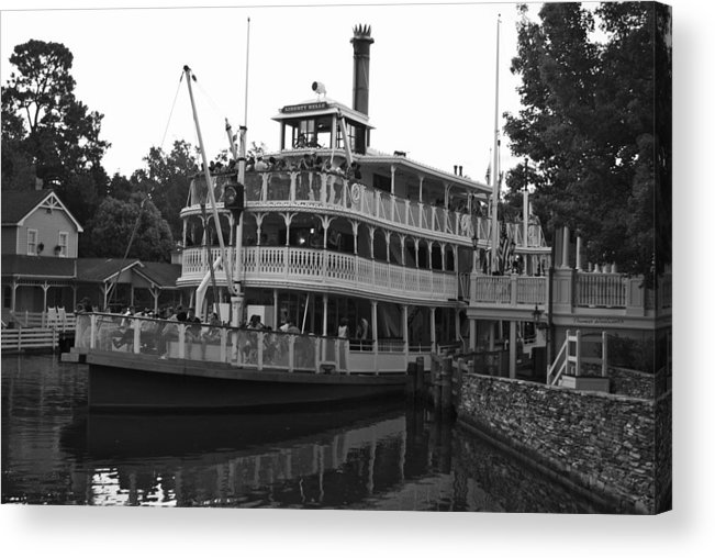 Black And White Acrylic Print featuring the photograph Paddle Boat Black And White Walt Disney World by Thomas Woolworth