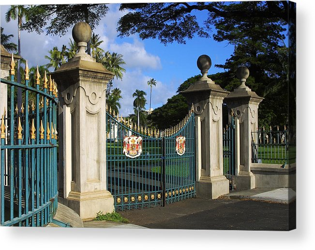 Honolulu Acrylic Print featuring the photograph Palace Gates by Linda Phelps