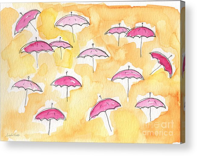 Umbrellas Acrylic Print featuring the painting Pink Umbrellas by Linda Woods