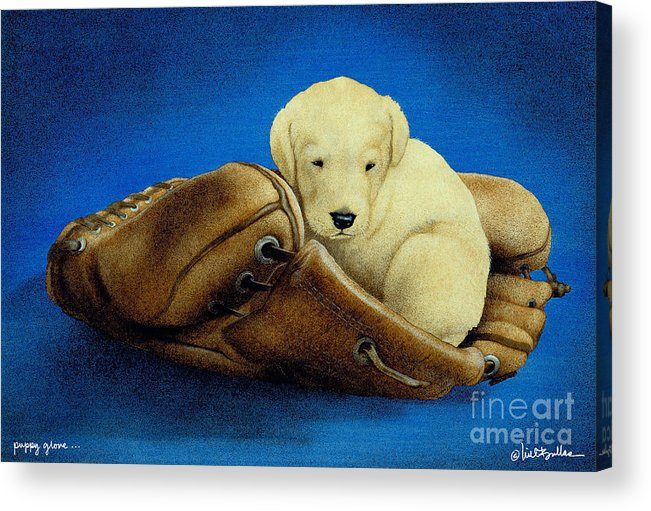 Will Bullas Acrylic Print featuring the painting Puppy Glove... by Will Bullas