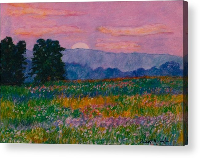Kendall Kessler Acrylic Print featuring the painting Purple Sunset On The Blue Ridge by Kendall Kessler