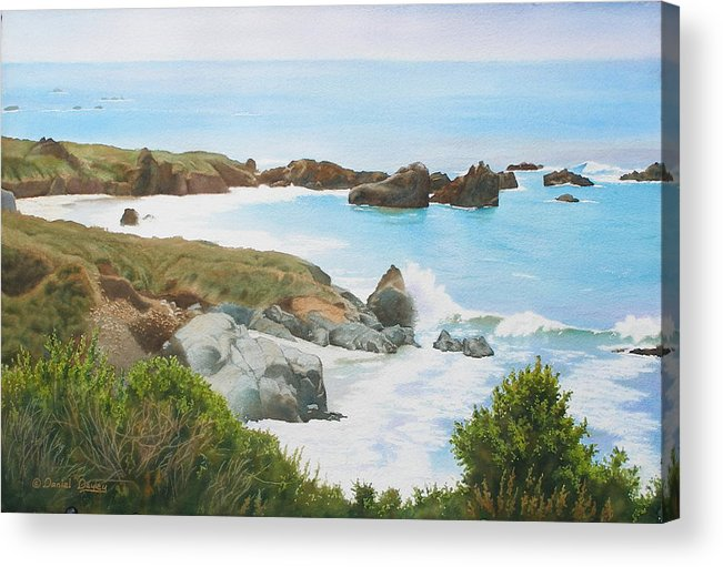 Watercolor Acrylic Print featuring the painting Rocks And Waves - California Coast by Daniel Dayley