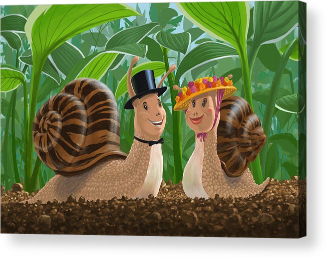 Romance Acrylic Print featuring the painting Romantic Snails On A Date by Martin Davey