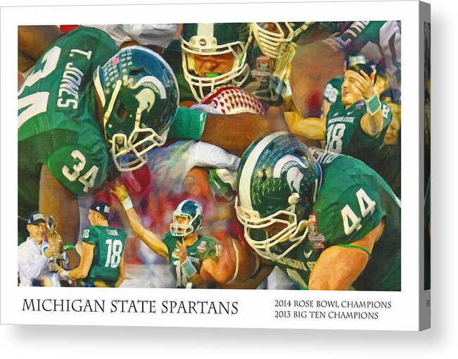 Michigan State Acrylic Print featuring the painting Rose Bowl Collage by John Farr