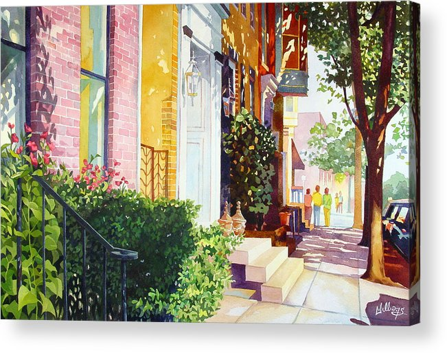 Landscape Acrylic Print featuring the painting Rowhouses by Mick Williams
