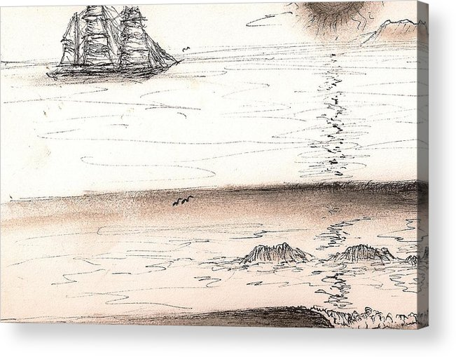 Sailingprint Acrylic Print featuring the drawing Sailing Into The Past by Paul Carter