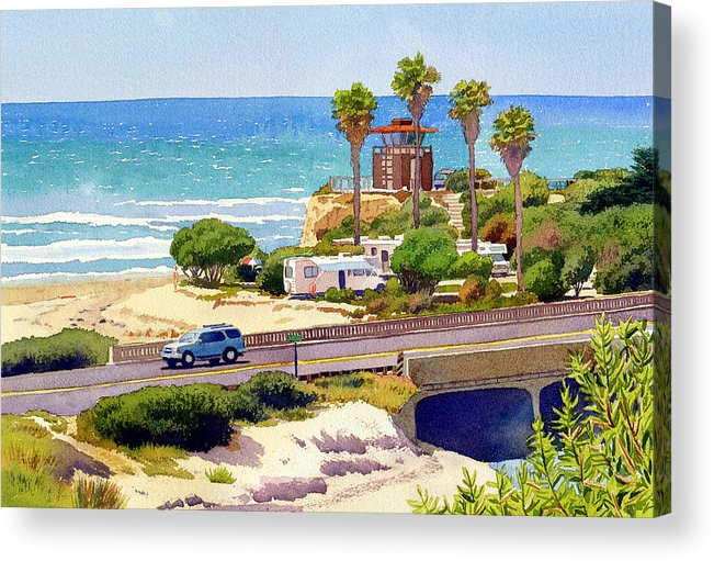 San Elijo Acrylic Print featuring the painting San Elijo Campground Cardiff by Mary Helmreich