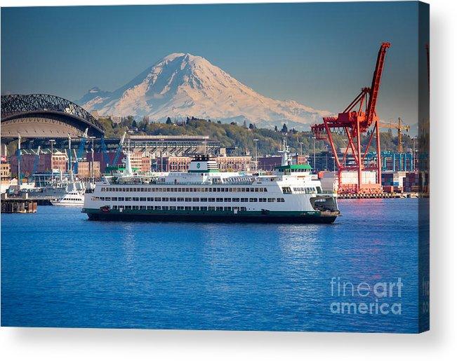 Seattle Acrylic Print featuring the photograph Seattle Harbor by Inge Johnsson