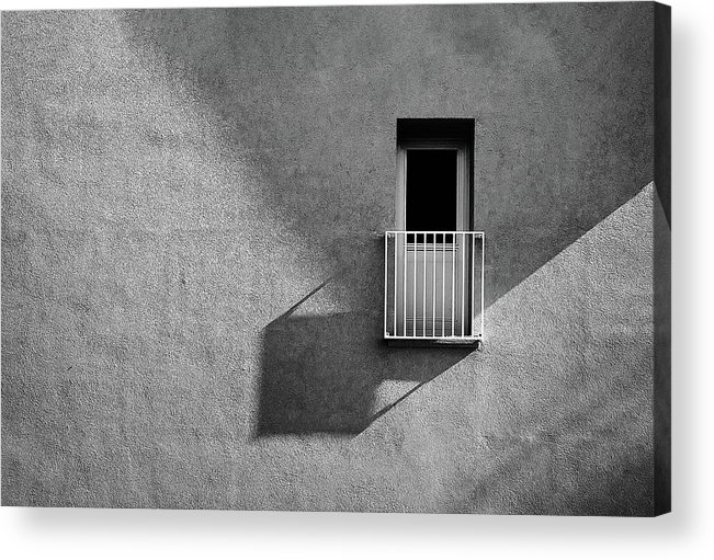 Abstract Acrylic Print featuring the photograph Small Balcony And Its Shadow by Inge Schuster