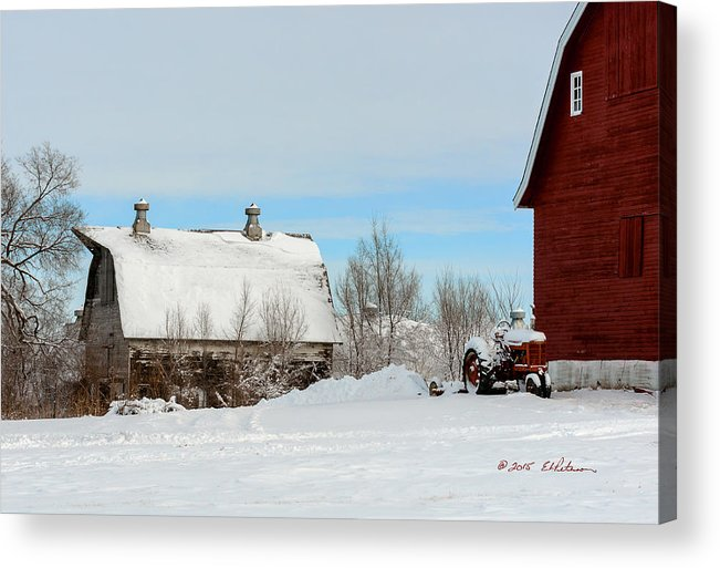 Winter Scene Acrylic Print featuring the photograph Snow Barns by Edward Peterson