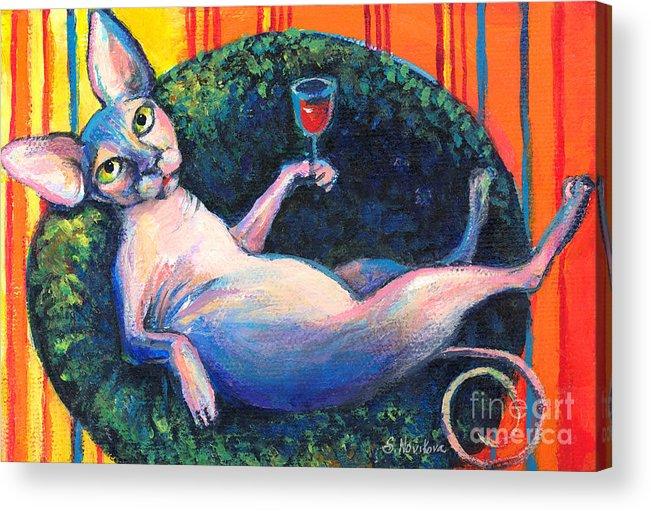 Sphynx Cat Acrylic Print featuring the painting Sphynx Cat Relaxing by Svetlana Novikova