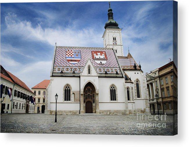 Zagreb Acrylic Print featuring the pyrography St. Mark's Church by Jelena Jovanovic