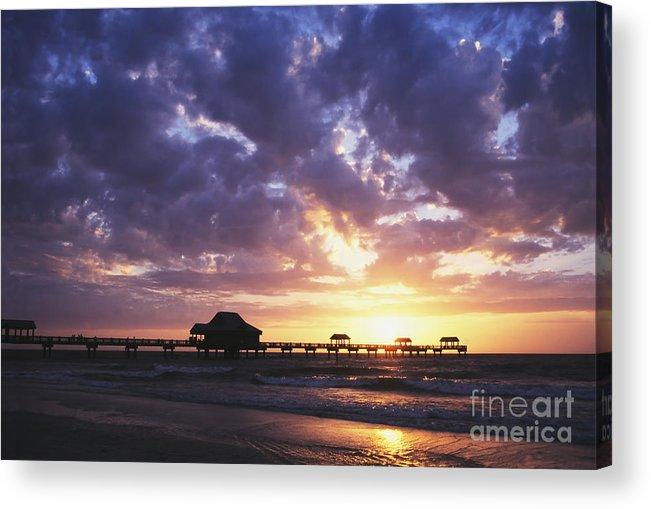 Dawn Acrylic Print featuring the photograph Sunset Pier 66 by David Davis