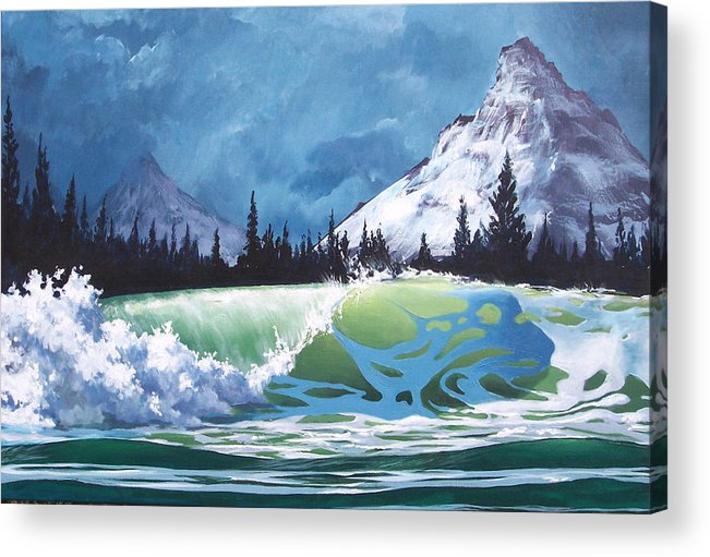 Wave Acrylic Print featuring the painting Surf And Snow by Philip Fleischer