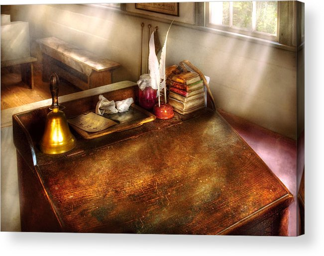Savad Acrylic Print featuring the photograph Teacher - The School Room by Mike Savad