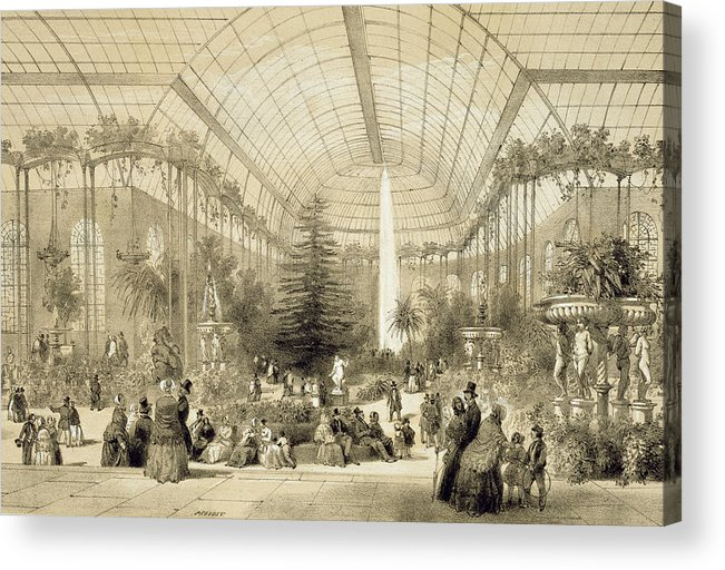 Jardin D'hiver Acrylic Print featuring the painting The Winter Garden by A Provost
