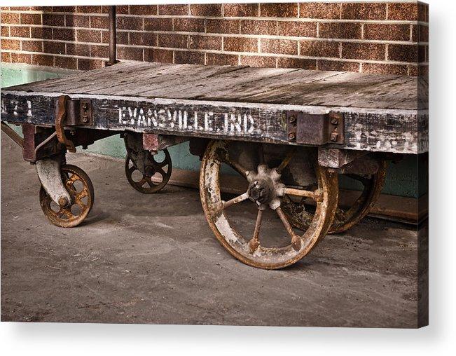 Train Depot Baggage Cart 2td Acrylic Print featuring the photograph Train Depot Baggage Cart 2td by Greg Jackson