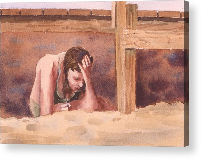 Watercolor Acrylic Print featuring the painting Under The Dock by Charles Pompilius