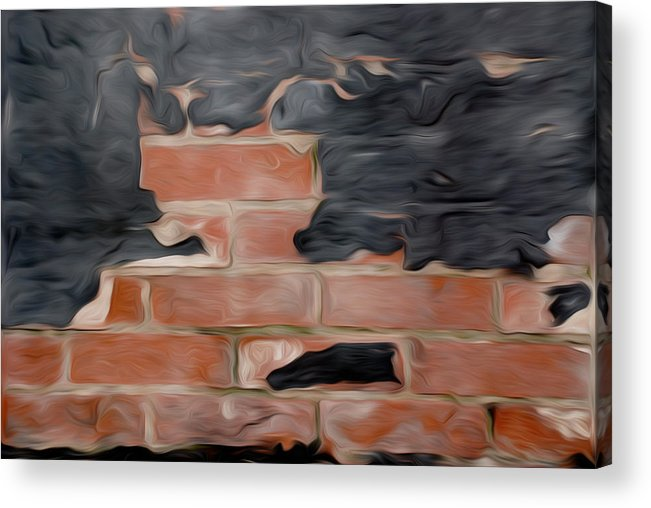 Bricks Acrylic Print featuring the pyrography Wall Brick by Stefan Petrovici