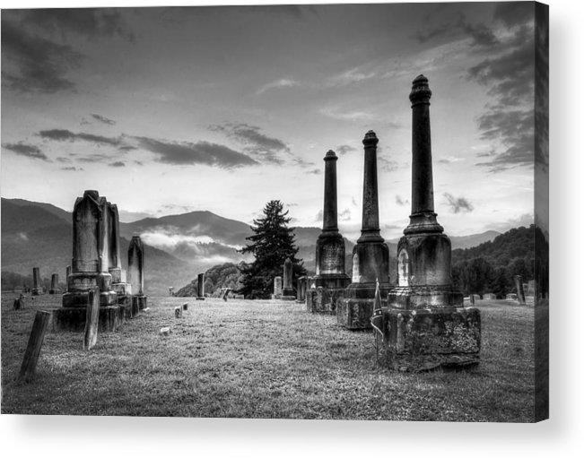 B&w Acrylic Print featuring the photograph Waynesville Green Hill Cemetery by Craig Burgwardt