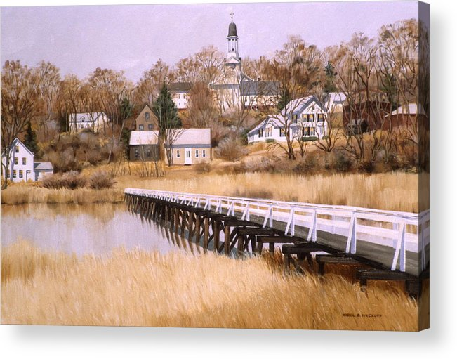 Village Acrylic Print featuring the painting Wellfleet Golden Morn by Karol Wyckoff