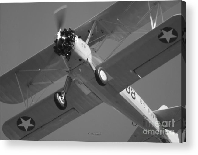 Black And White Acrylic Print featuring the photograph Stearman Trainer Bi Plane Black And White by Thomas Woolworth