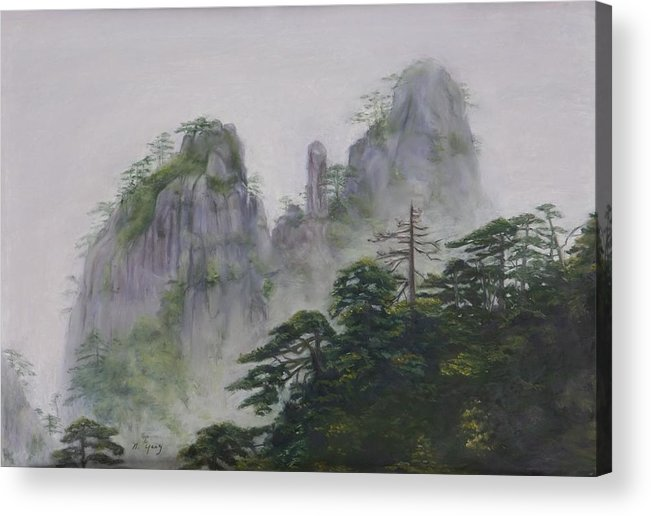 Landscape Acrylic Print featuring the pastel Yellow Mountain by Nancy Yang