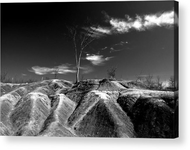 Black And White Acrylic Print featuring the photograph Cheltenham Badlands by Cale Best