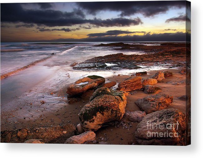Background Acrylic Print featuring the photograph Coastline At Twilight by Carlos Caetano