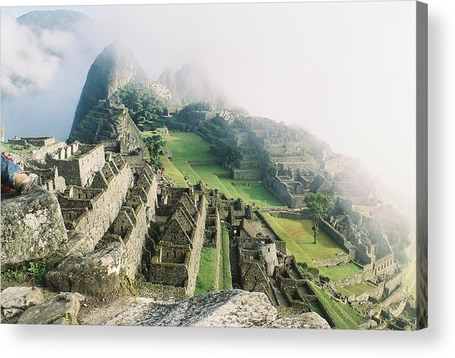 Machu Picchu Acrylic Print featuring the photograph Machu Picchu In The Fog by Nimmi Solomon