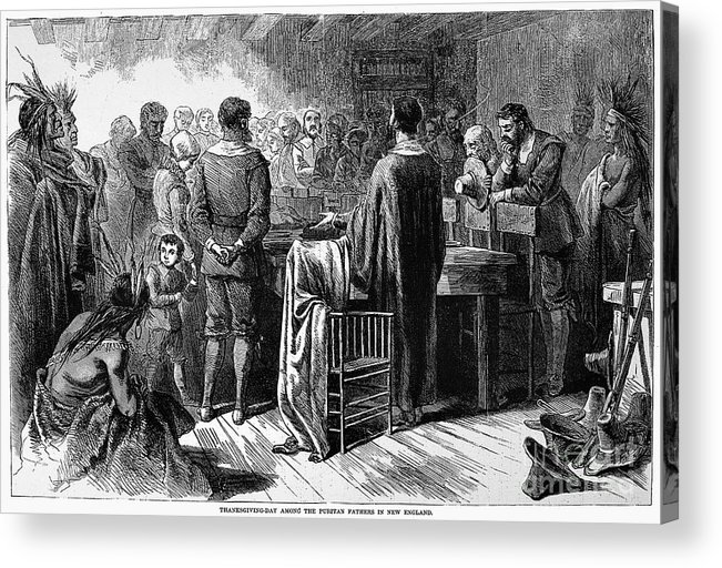 1621 Acrylic Print featuring the photograph Pilgrims: Thanksgiving, 1621 by Granger