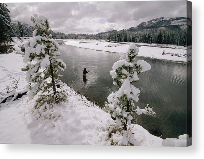 Color Image Acrylic Print featuring the photograph A Fisherman Tries His Luck by Annie Griffiths