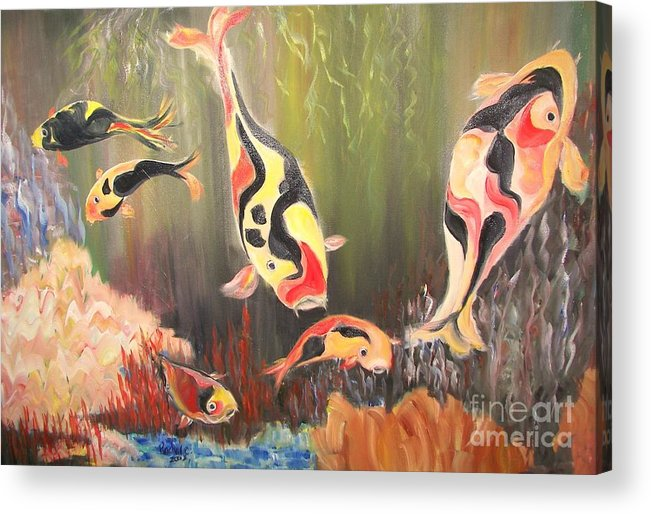 Fish Acrylic Print featuring the painting A School Of Koi by Rachel Carmichael