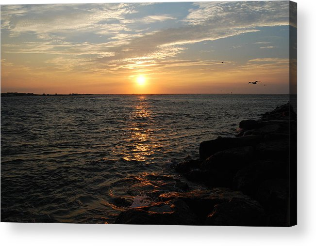 Sun Rise Acrylic Print featuring the photograph Barnagats Sunrise by Kathy Gibbons