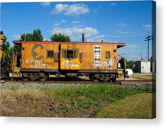 Caboose Acrylic Print featuring the photograph Bay Window Caboose by Mark Kelley