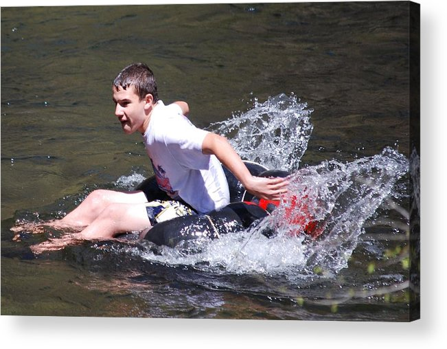 Boy Acrylic Print featuring the photograph Boy Splashing by Carrie Munoz