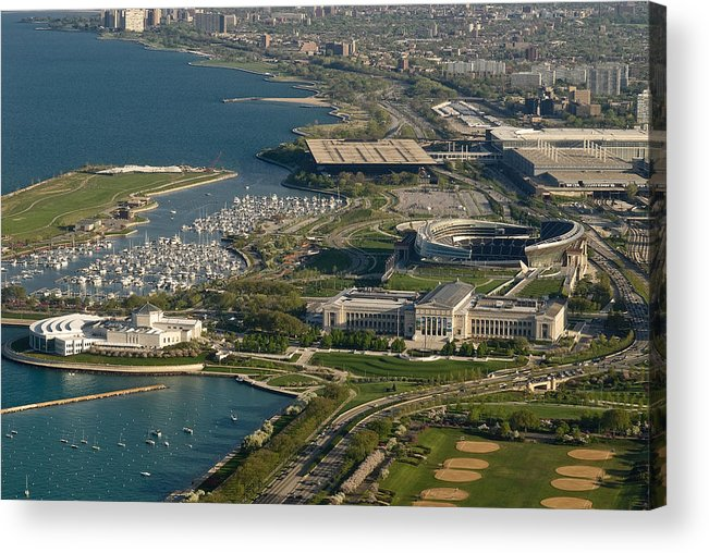 Aerial Acrylic Print featuring the photograph Chicagos Lakefront Museum Campus by Steve Gadomski