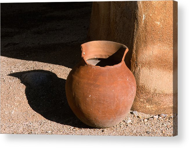 Mexican Pottery Acrylic Print featuring the photograph Clay Pot And Shadow by Sandra Bronstein
