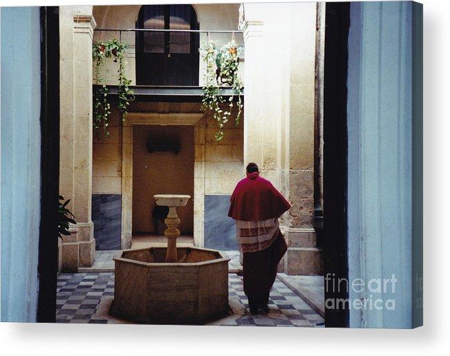 Cardinal Acrylic Print featuring the photograph Courtyard Visitor by Barbara Plattenburg