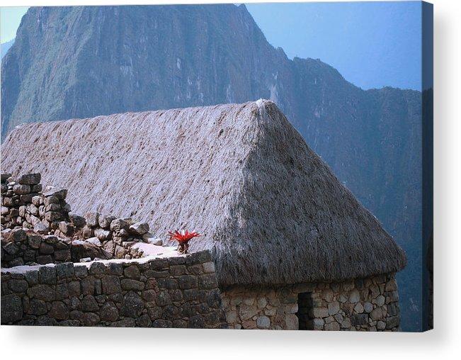 Peru machu Picchu Machu Picchu Andes Inca Acrylic Print featuring the photograph Depositos Qolgas by Harvey Barrison