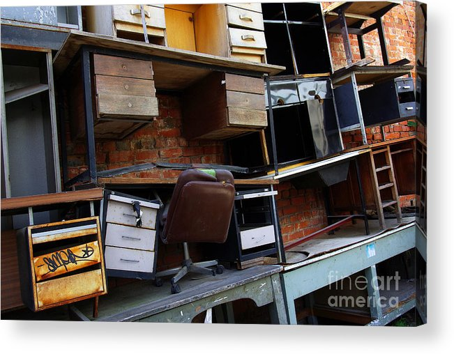 Abandoned Acrylic Print featuring the photograph Desk Scrap by Carlos Caetano