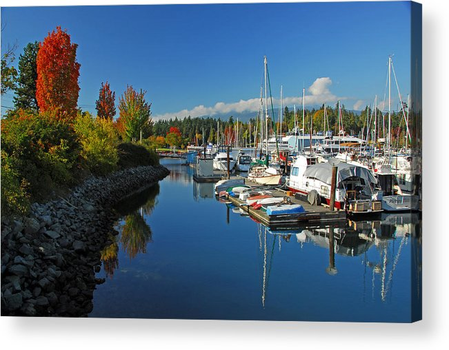 Harbors Acrylic Print featuring the photograph Fall Colors At English Bay by Lynn Bauer