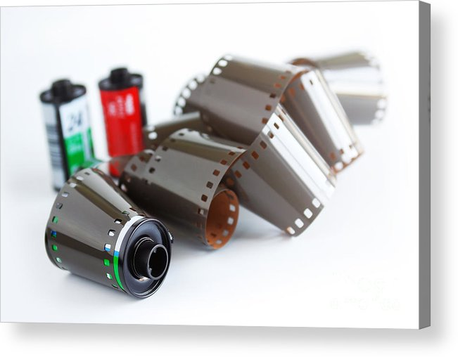 35mm Acrylic Print featuring the photograph Film And Canisters by Carlos Caetano