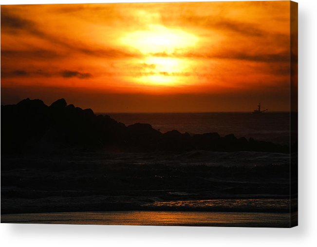 Sunset Acrylic Print featuring the photograph Fishing Vessel At Sunset by Michael Merry